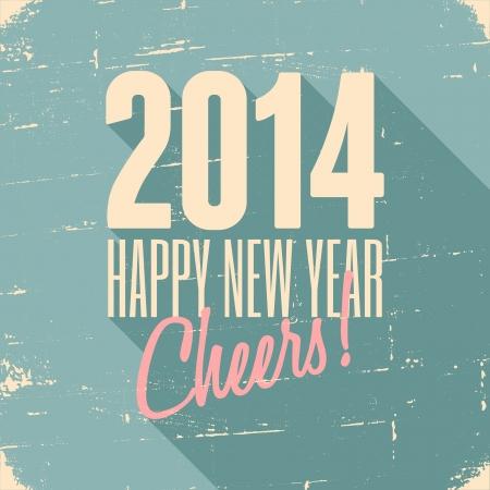 Ano Novo 2014 projeto feliz cartão retro. Banco de Imagens - 23516615