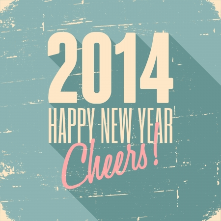 Happy New Year 2014 retro greeting card design. Vector