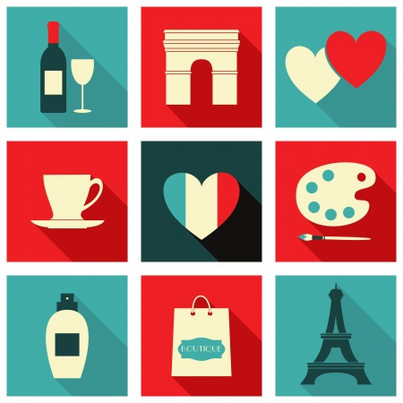 A set of long shadow icons with Paris symbols. Vector