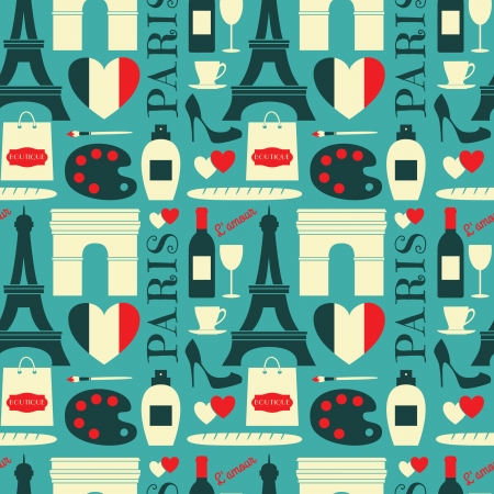 Seamless repeat pattern with Paris symbols in red, white and blue. Vector