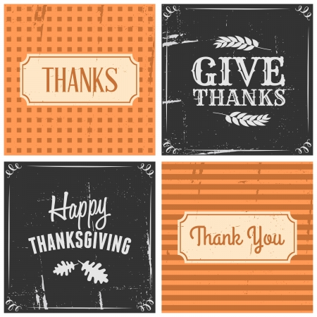 A set of four typographic design cards for Thanksgiving Day. Illustration