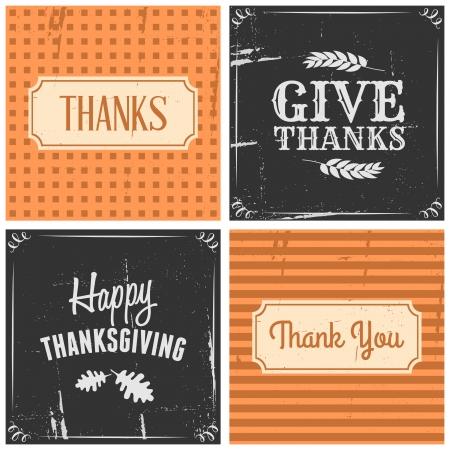 accion de gracias: Un conjunto de cuatro cartas dise�o tipogr�fico para el D�a de Acci�n de Gracias.
