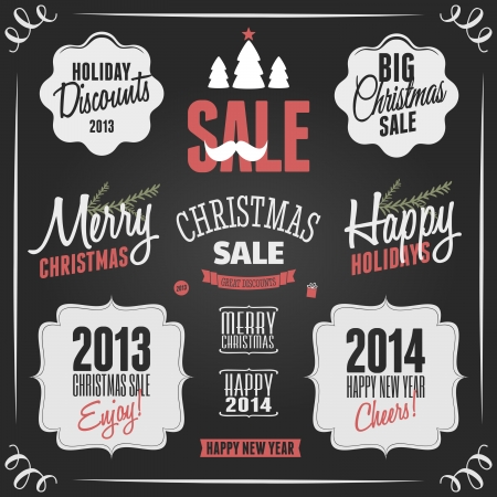A set of chalkboard style design elements for Christmas and New Years. Vector