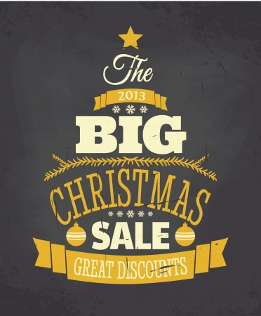 Chalkboard style Christmas sale poster. Vector