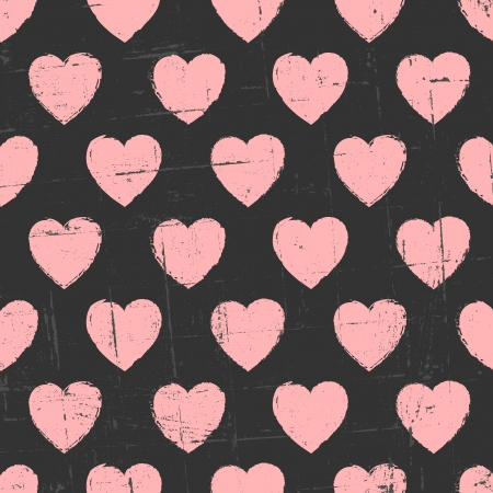 Chalkboard style seamless hearts pattern. Illustration