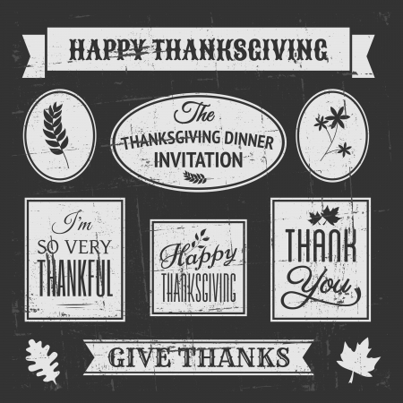 give: Chalkboard style design elements for Thanksgiving Day. Illustration