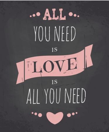 all love: Cartolina d'auguri di giorno di stile lavagna di San Valentino. Vettoriali