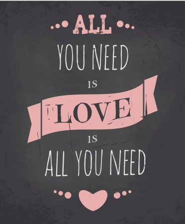 allen: Krijtbord stijl Valentijnsdag wenskaart. Stock Illustratie