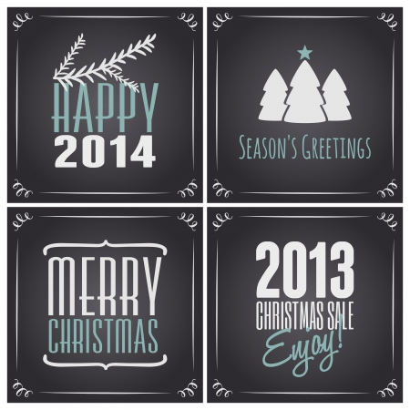 A set of four chalkboard style Christmas greeting cards, isolated on white. Vector
