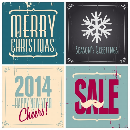 A set of four retro style Christmas greeting cards, isolated on white. Vector