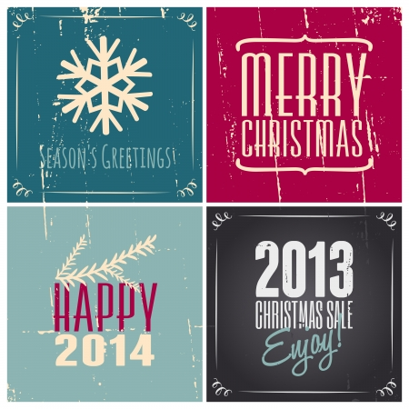 A set of vintage style greetings cards for Christmas and New Years. Vector