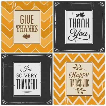 caes: Un conjunto de cuatro tarjetas de felicitación de estilo retro de Acción de Gracias, aislado en blanco.