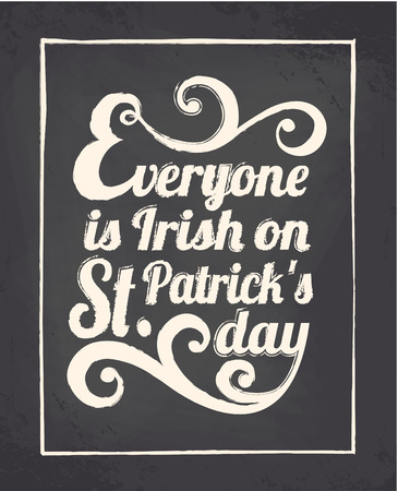 st patricks party: Chalkboard style greeting card for St. Patricks Day.
