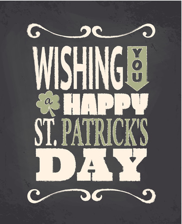 Chalkboard style greeting card for St. Patricks Day. Vector