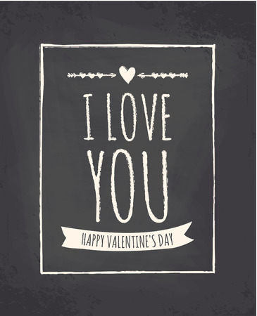 Chalkboard style greeting card for Valentines Day. Vector
