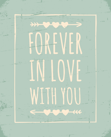 Vintage style greeting card for Valentines Day in pastel colors. Vector