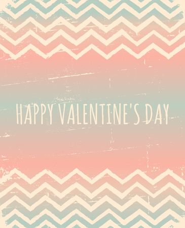 Chevron pattern greeting card for Valentines Day in pastel colors. Vector