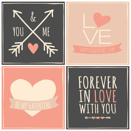 A set of four retro greeting cards for Valentines Day. Vector