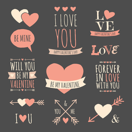 A set of chalkboard style design elements for Valentines Day, wedding or engagement. Ilustração