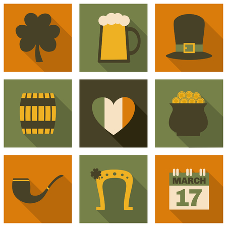 A set of flat design long shadow icons for St. Patricks Day, isolated on white. Vector