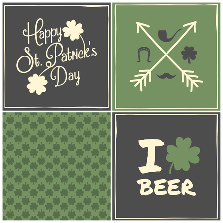 A collection of three greeting cards and a seamless pattern for St. Patricks Day. Vector