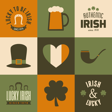st patricks party: A collection of nine greeting cards for St. Patricks Day. Illustration