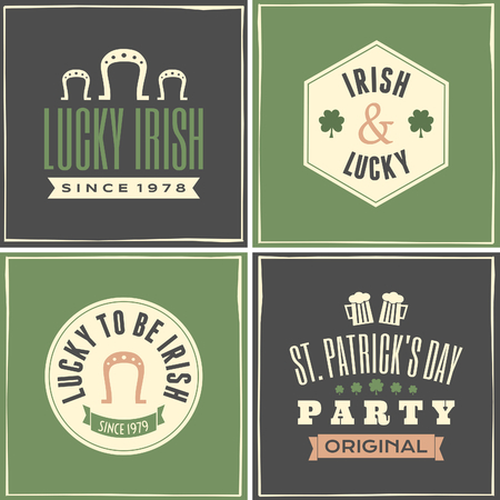 A collection of four greeting cards for St. Patricks Day. Vector