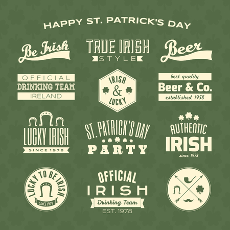 A collection of St. Patrick's Day typographic design elements against a green clover seamless background. Vector