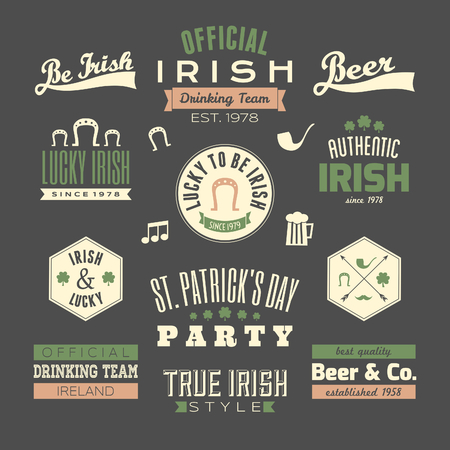 A set of St. Patricks Day chalkboard style typographic design elements.