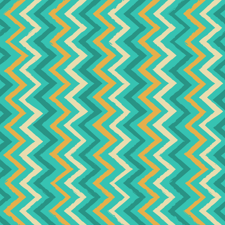 Seamless chevron pattern in turquoise blue, yellow and cream  Vector