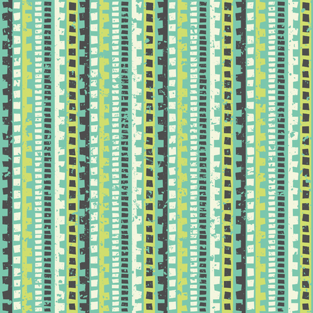 Seamless tribal pattern in lime green and blue  Vector