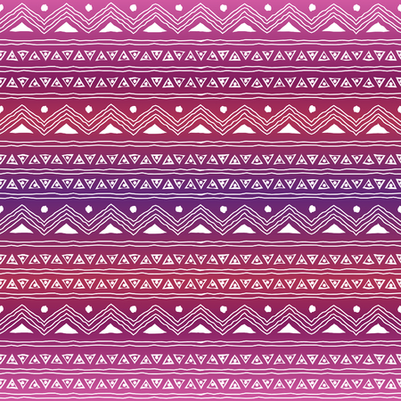 Seamless geometric pattern with ethnic motifs against purple, pink and orange ombre background  Illustration