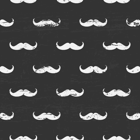 Seamless chalkboard pattern with cute mustaches  Vector