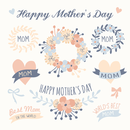 A set of floral design elements, wreaths, ribbons and hearts in pastel colors for Mother Vector