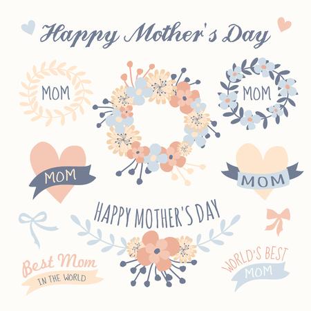 Un conjunto de elementos de diseño floral, coronas de flores, cintas y corazones en colores pastel de la Madre Ilustración de vector