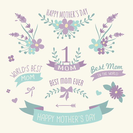 A set of floral design elements, wreaths and ribbons in pastel purple and green for Mother Vector