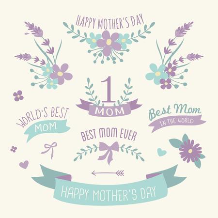 Un conjunto de elementos de diseño floral, coronas de flores y cintas en colores pastel púrpura y verde para la madre