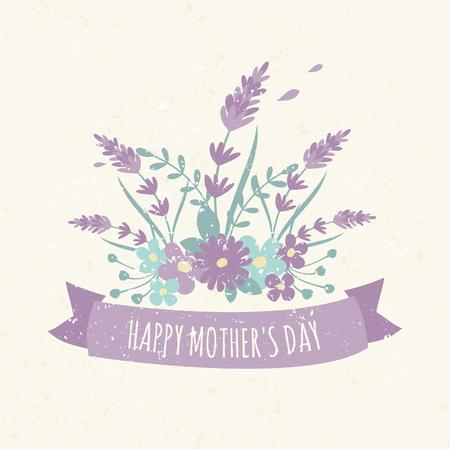 ramo de flores: Dise�o de la tarjeta de felicitaci�n para la madre