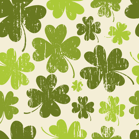 seamless clover: Seamless vintage pattern for St  Patrick Illustration