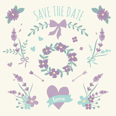 A set of floral design elements, wreaths, ribbons and hearts in pastel violet and green  Vector