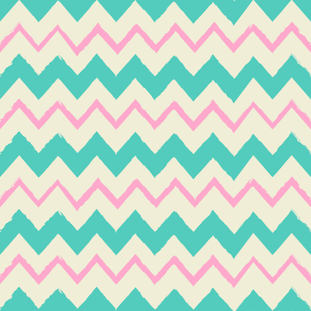 Seamless chevron pattern in turquoise blue, pink and cream  Vector