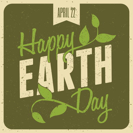 green earth: Typographic design poster for Earth Day  Illustration