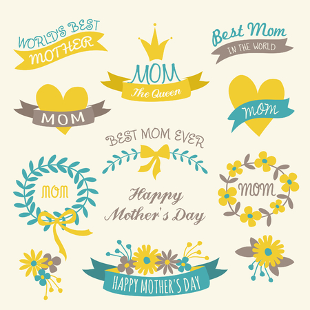 A set of floral design elements, wreaths, ribbons and hearts for Mother s Day Illustration