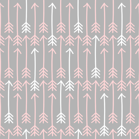Seamless pattern with white and pink arrows against light gray background  Vector