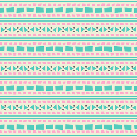 Seamless geometric pattern with ethnic motifs in pink and turquoise colors  Vector