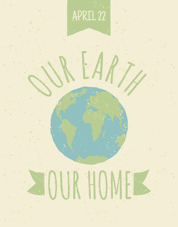 Poster design for Earth Day in green and blue  Vector