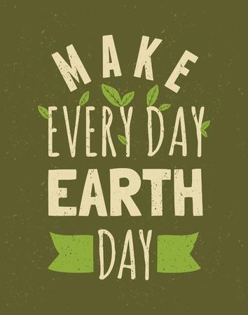Typografisch ontwerp poster voor Dag van de Aarde Stock Illustratie