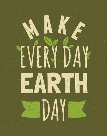 Typographic design poster for Earth Day  Ilustracja