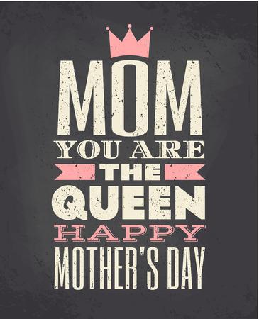 黑板式的排版設計賀卡母親節