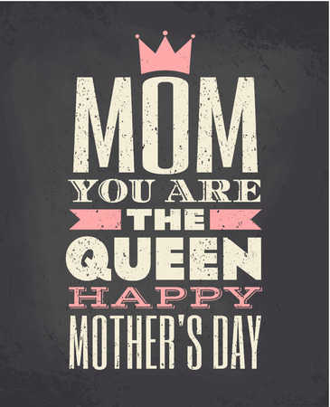 typographic: Chalkboard style typographic design greeting card for Mother s day Illustration
